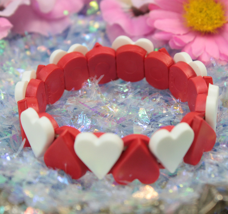 .Red and White Heart Childrens Bracelet - 203-4-1207-BR