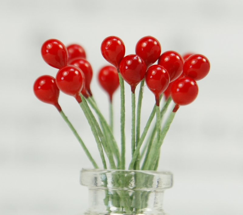 .Ornament, Red Berries (Double Headed Accents) 72 pieces