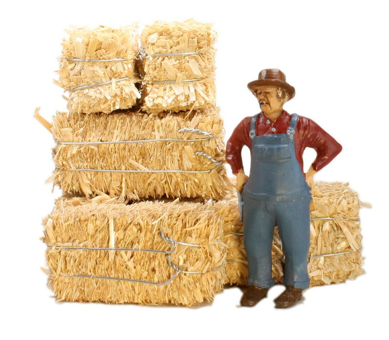 "Hay Bales - G Scale - Real Hay - 2"" Long - 101-0802"