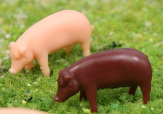 "Pigs - 1/2"" Pink and Brown Pigs - Set of 12 - 102-2053"