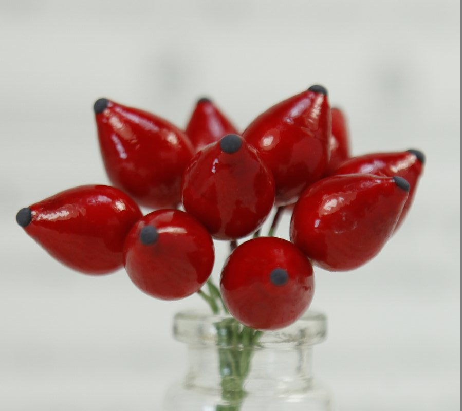 Red - Berry - Fruit - Bead - Ornament -- Set of 10 - 6-706-110
