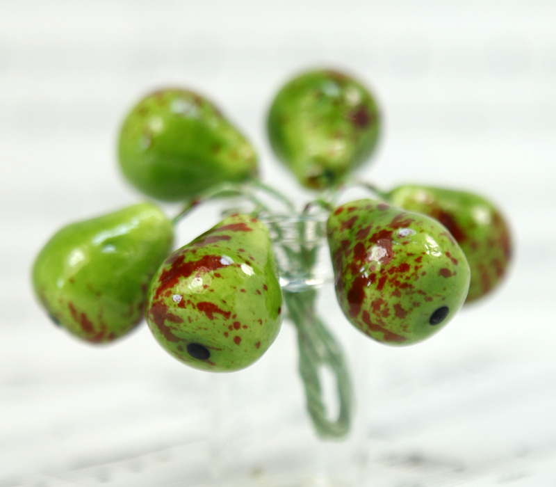 Green - Pear - Fruit  - Bead - Ornament -Set of 8 - 6-705-1506