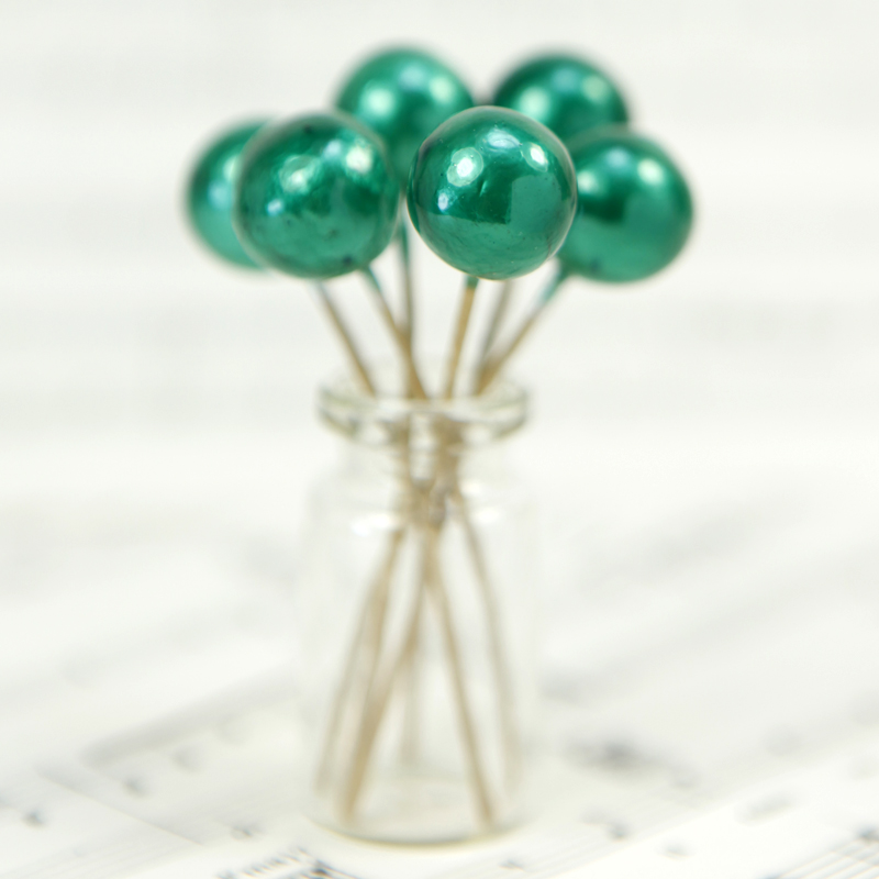 Green - Ball - Bead - Ornament - Set of 7 - 6-708-1508G