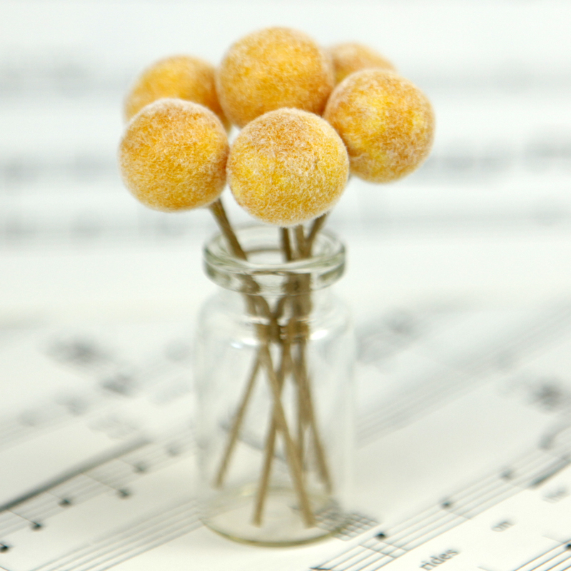 Golden Yellow - Fruit - Frosted - Bead - Ornament -- Set of 8 -