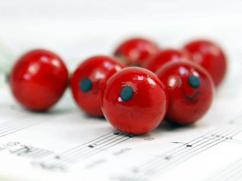 Red - Berry - Bead - Ornament -- Set of 10 - 6-704-1800