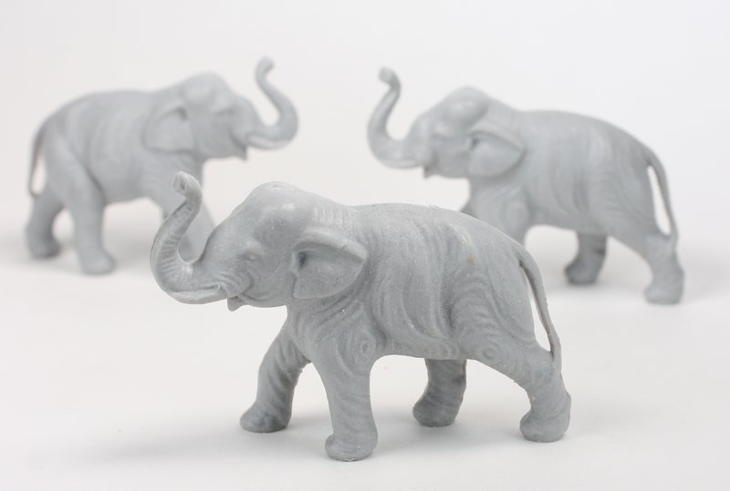 Elephants - Large - Set of 4 - Retro Dollhouse Minis - 201-149-5