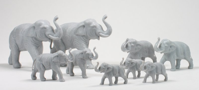 Elephant Family Set - Set of 9 - Dollhouse Minis - 201-149-6
