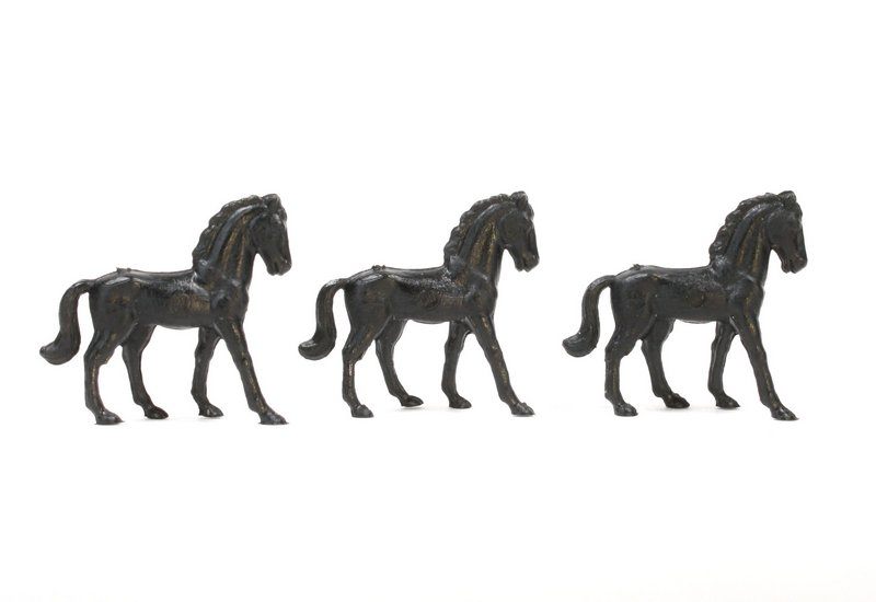 Horses - Black - Set of 8 - Dollhouse Minis - 201-152-3-BK