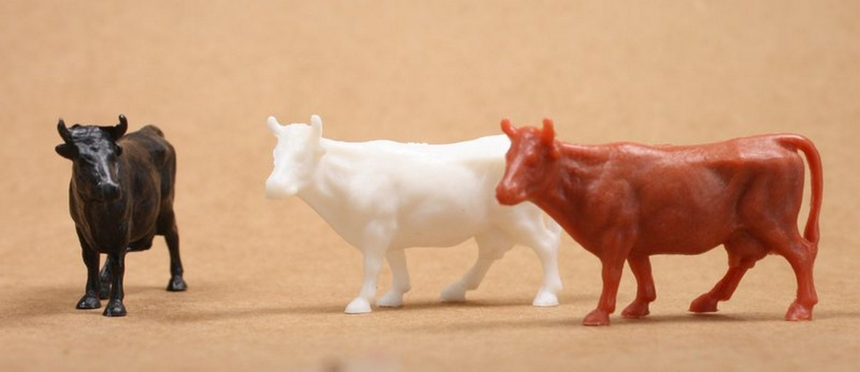 Cows - Cattle - Mixed - Set of 8 - Dollhouse Minis - 201-154-3MX