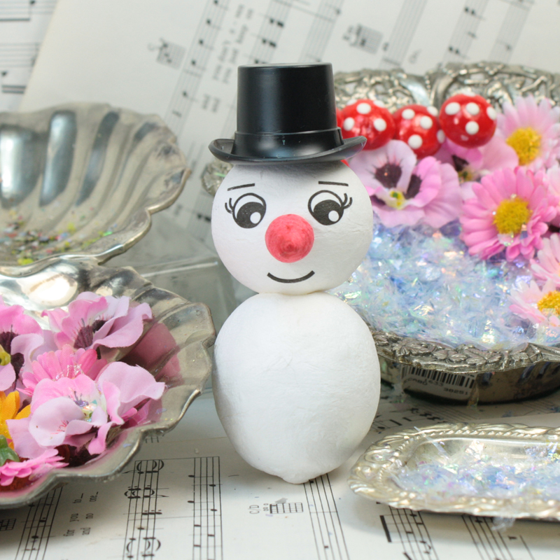 Spun Cotton Snowman Head with Nose - Set of 2 - 6-201-5400
