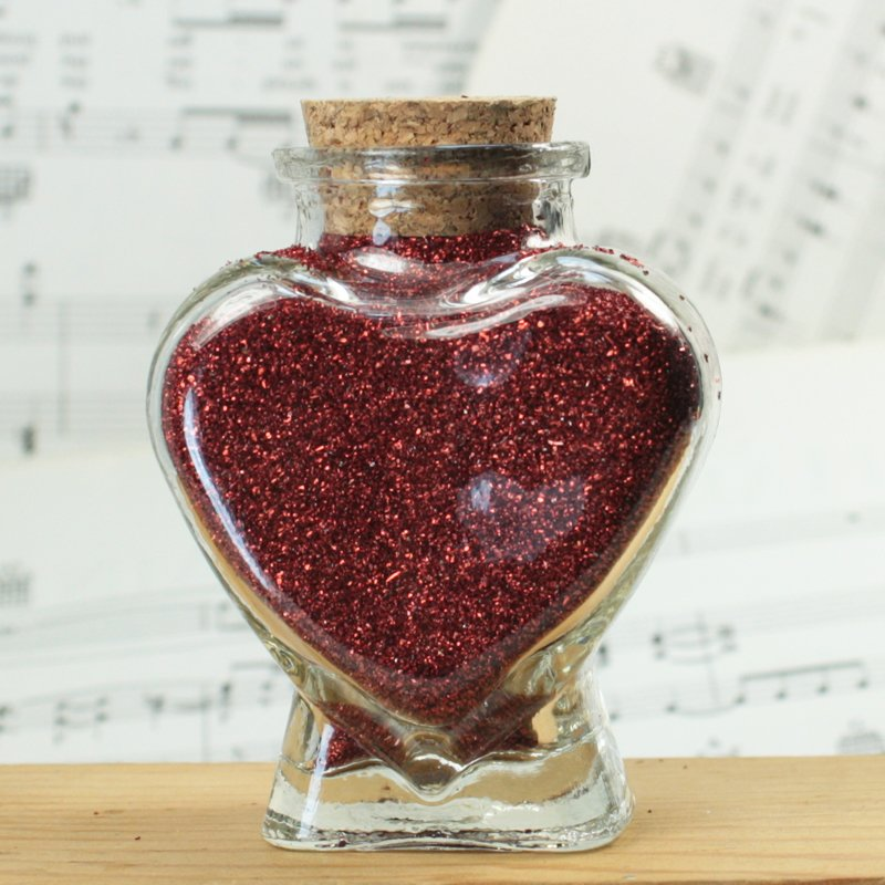 Heart Bottle with Dark Red Glitter - Single - #310-842DR