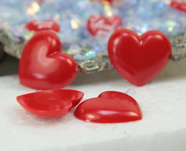 Large Red Flatback Hearts - Set of 12 - 203-3-118