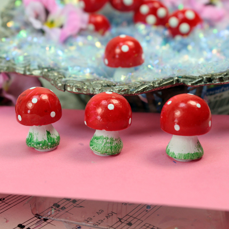 Red -  Button Mushrooms- Set of 4  - 205-0216