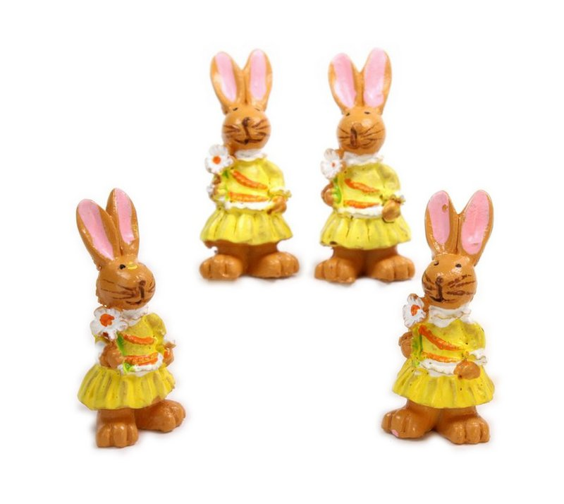 Bunny Girls - With Flower - Set of 4 - Easter - 205-0484