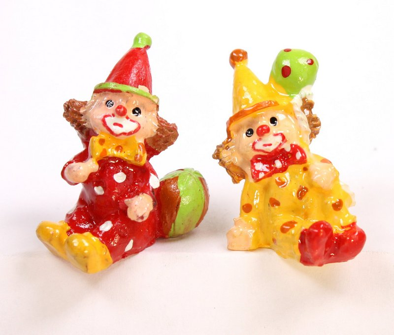 "Clowns - 1"" Tall - Set of 4 - Dollhouse Minis - 205-5297"