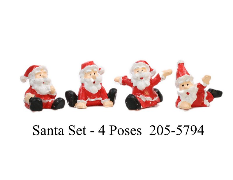 "Santa - 1"" Posing - Set of 4 - Dollhouse Minis - 205-5794"