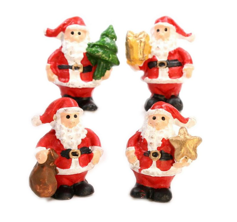 "Santa - 1"" Standing  - Set of 4 - Dollhouse Minis - 205-6103"