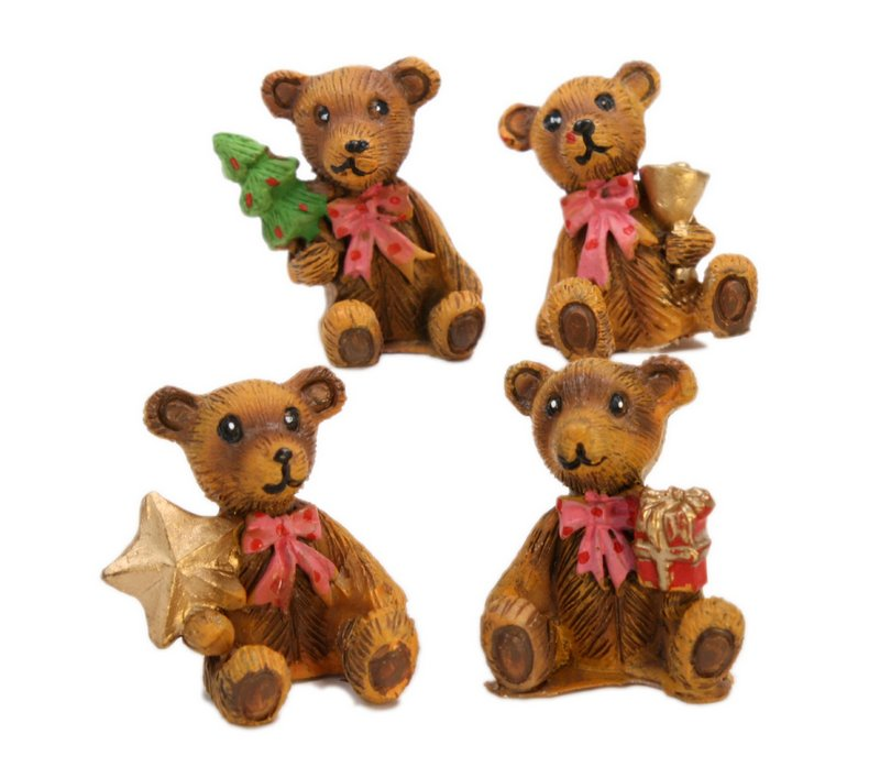 Holiday Bears - Set of 4 - Dollhouse Minis - 205-6417