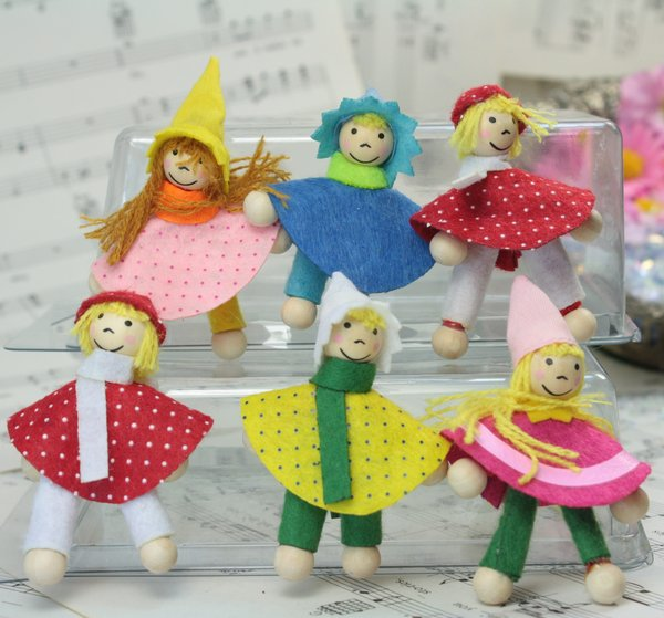"Set of 6 German Dolls - 2"" Tall - 206-0953"