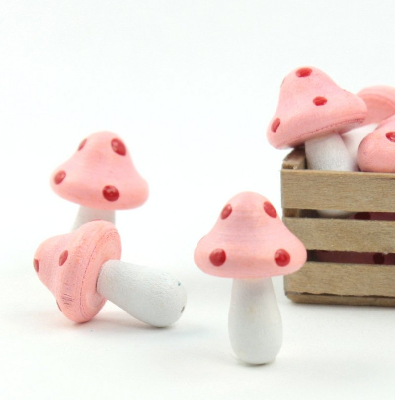 "Pink - Wood - Hand Crafted - 3/4"" Mushrooms 218-0127"