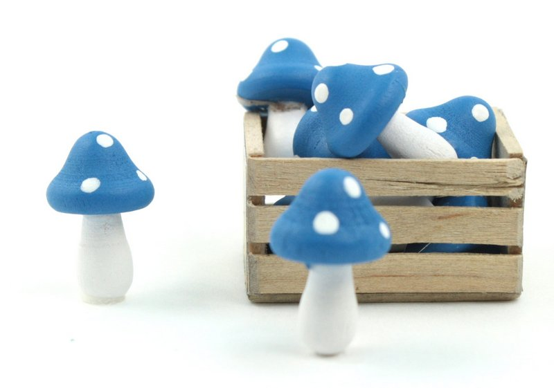 "Blue - Wood - Hand Crafted - 3/4"" Mushrooms 218-0129"