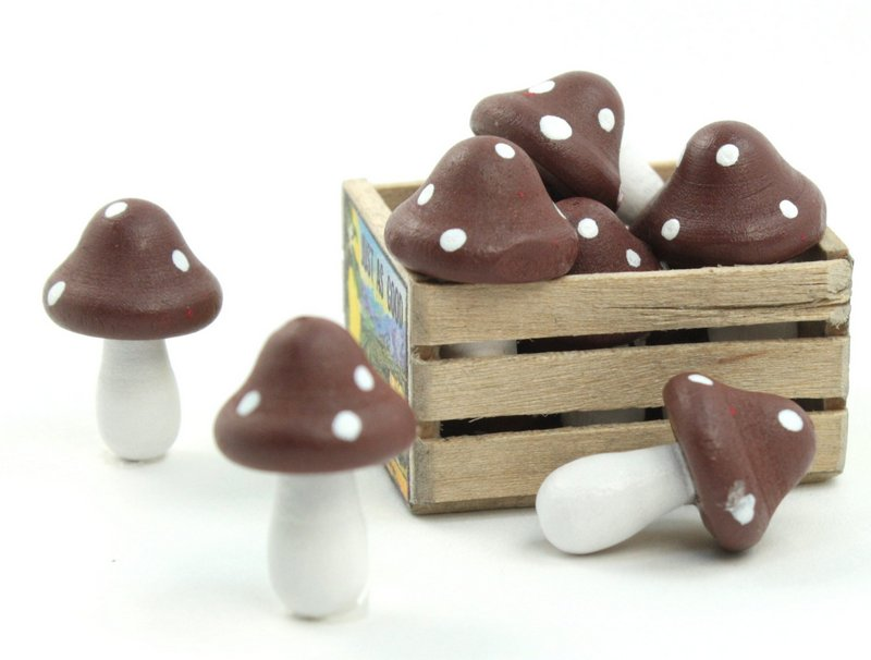 "Brown - Wood - Hand Crafted - 3/4"" Mushrooms 218-0131"