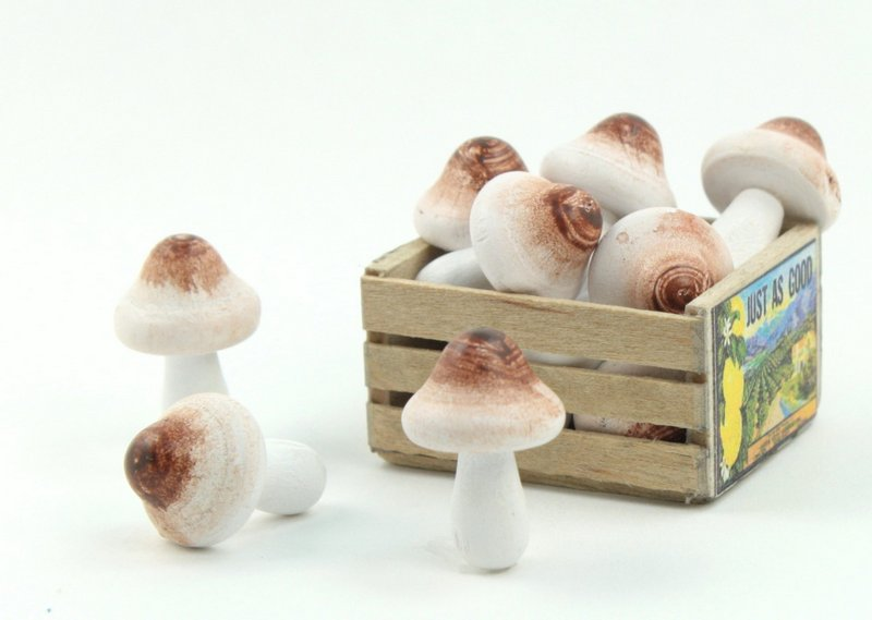 "Natural - Wood - Hand Crafted - 3/4"" Mushrooms -  218-0133"