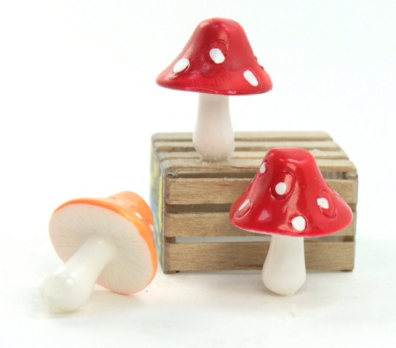 "Red - 1"" Ceramic Mushroom - Set of 5 - 218-0136"