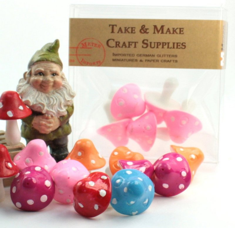 "Pink - 1"" Ceramic Mushroom - Set of 5 - 218-0137"