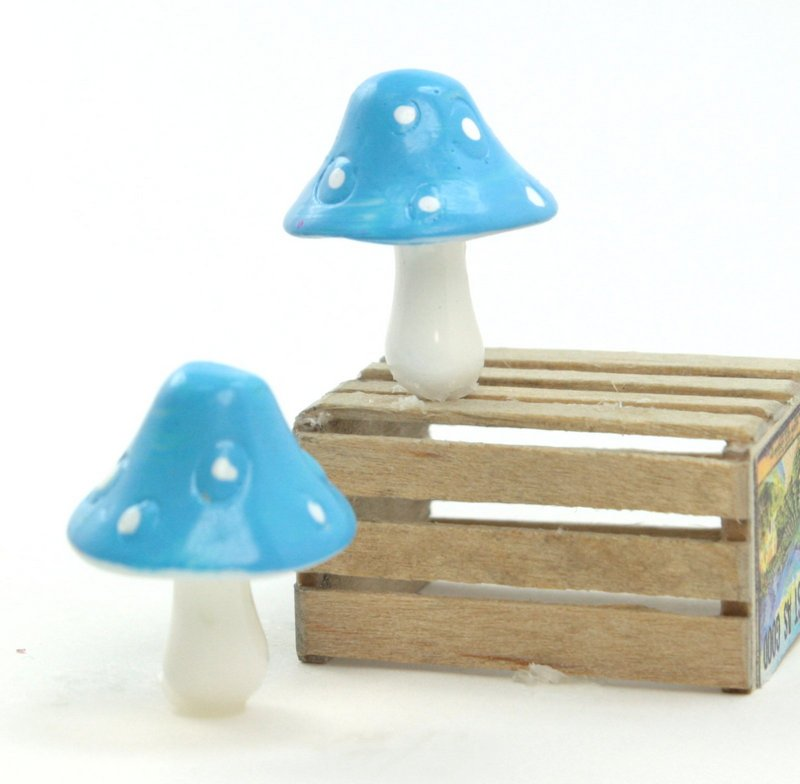 "Blue - 1"" Ceramic Mushroom - Set of 5 - 218-0138"