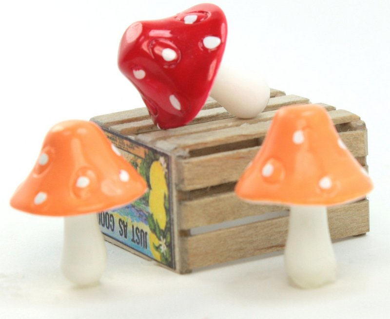 "Orange - 1"" Ceramic Mushroom - Set of 5 - 218-0139"