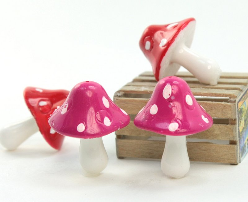 "Purple - 1"" Ceramic Mushroom - Set of 5 - 218-0140"