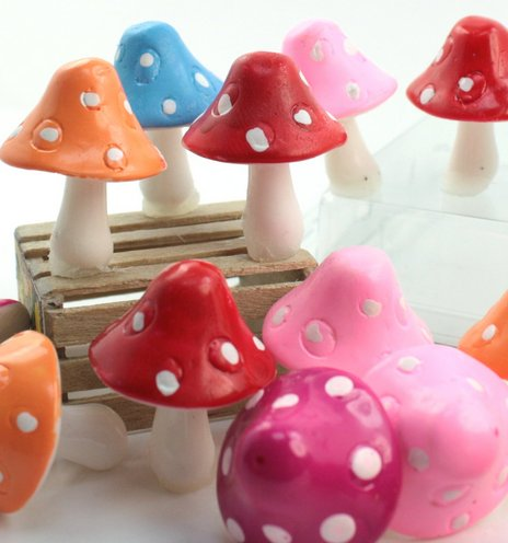 "Colorful Set - 1"" Ceramic Mushroom - Set of 10 - 218-0141"