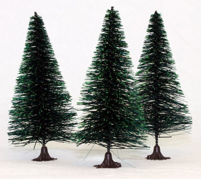 "Bottle Brush Trees - 4"" - 3 Pcs Set - (218-0254)"