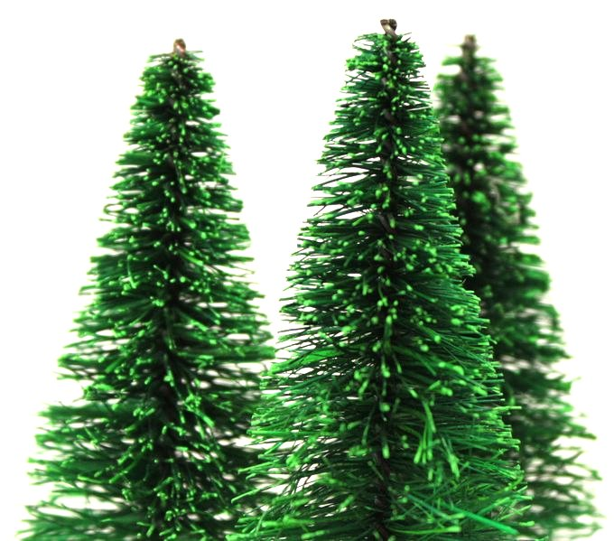 "Bottle Brush Trees - 3"" - 5 Pcs Set -  (218-0255)"