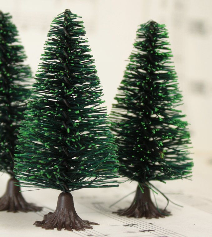 "Bottle Brush Trees - 2""- 4 Pcs Set -  (218-0256)"