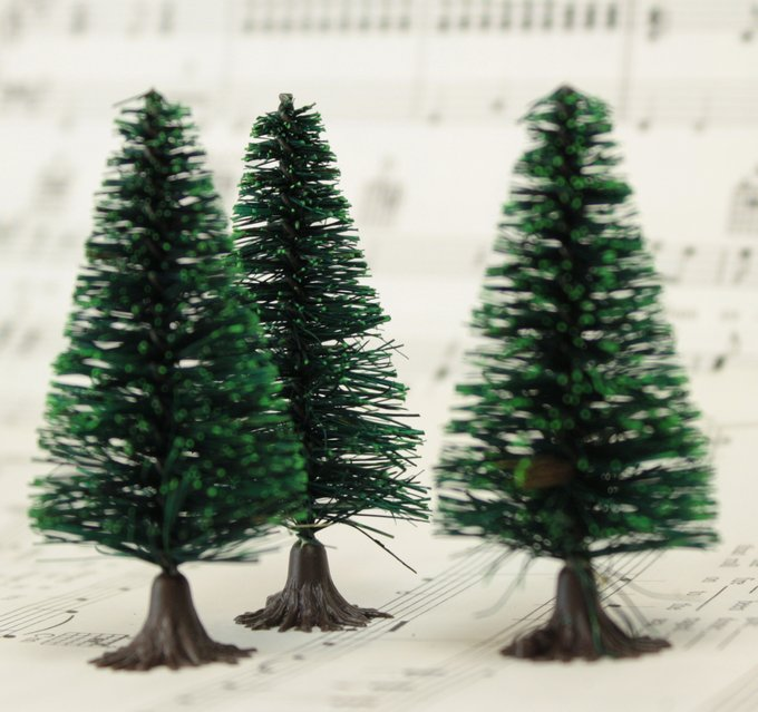 "Bottle Brush Trees - 2""- 5 Pcs Set -  (218-0256)"
