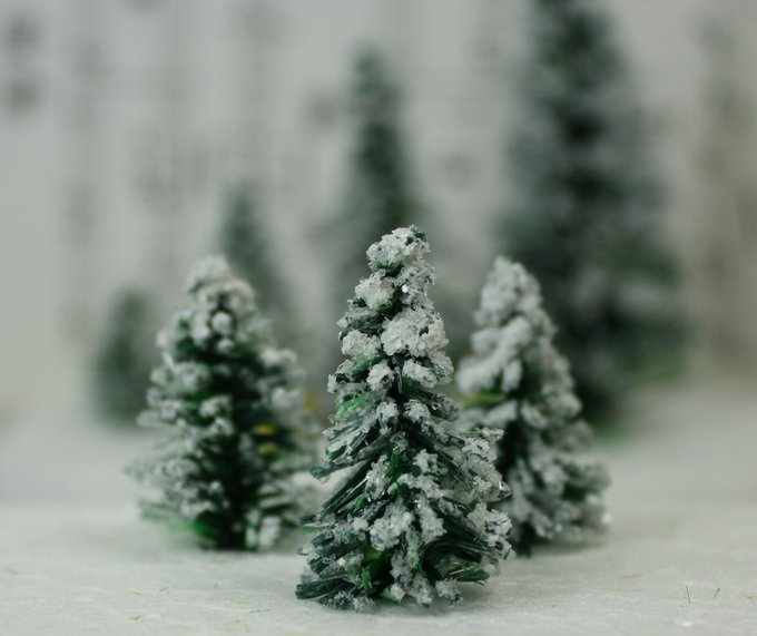 "Snowy Evergreen Tree - 1"" - Set of 5 - 218-0401"