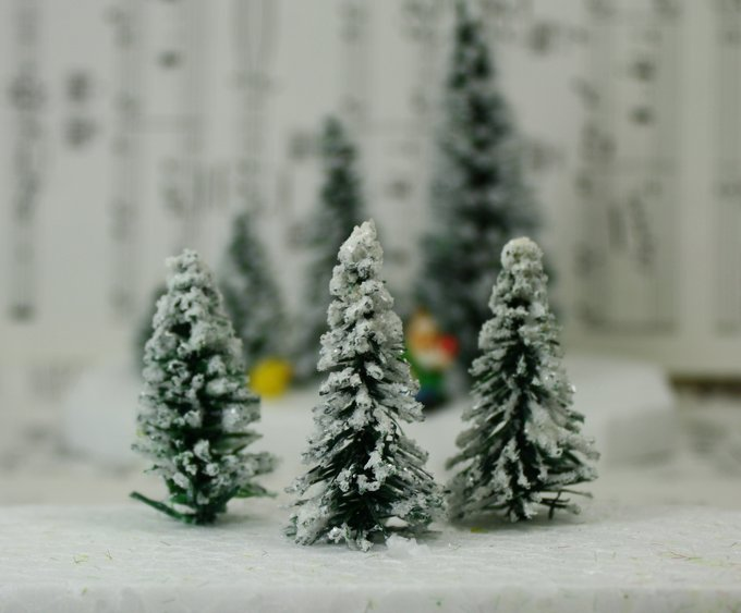 "Snowy Evergreen Tree - 2"" - Set of 4 - 218-0402"