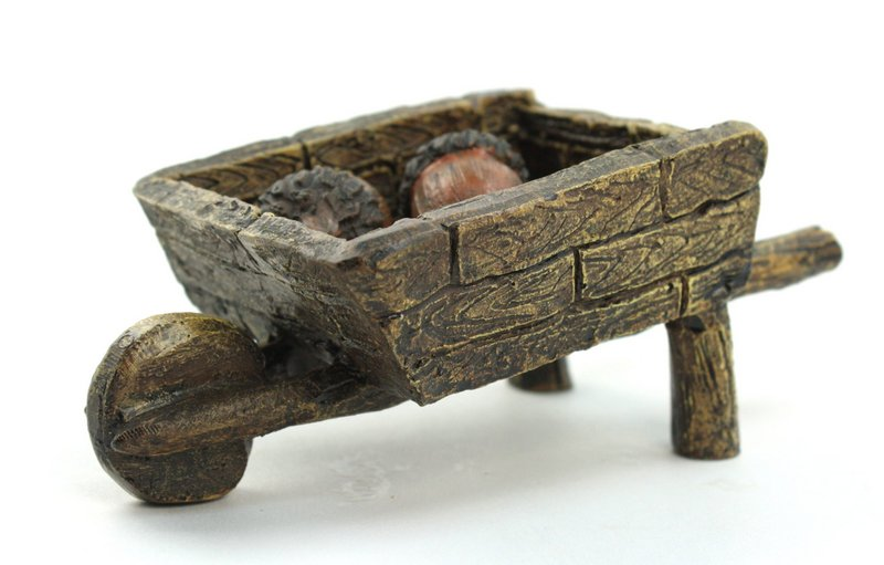 "Wheelbarrow with Acorns - Cart - Fairy Garden - 4"" - 207-1111"