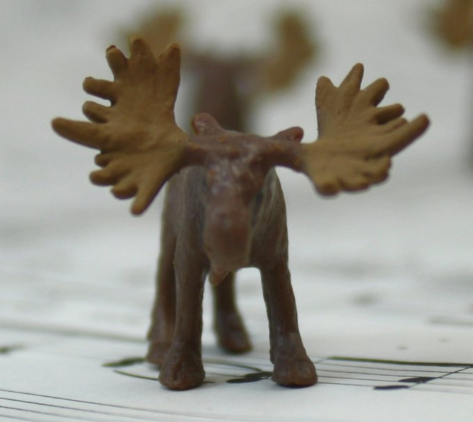 Moose - Tiny - Hand Painted -  Set of 4 - 234-8222
