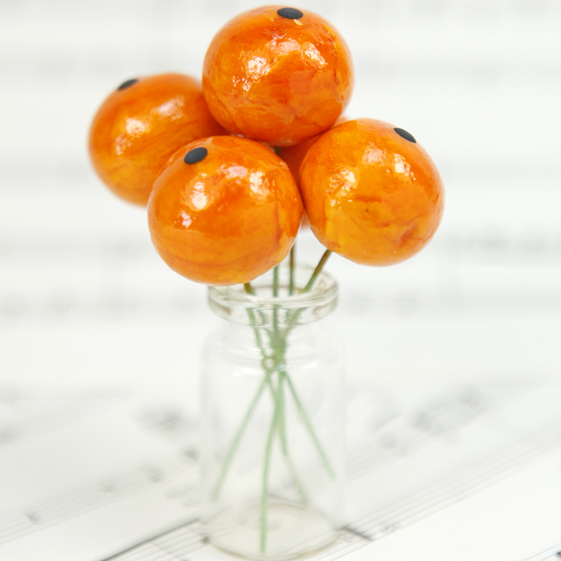 Orange - Fruit - Bead - Ornament -- Set of 7 - 6-704-2205