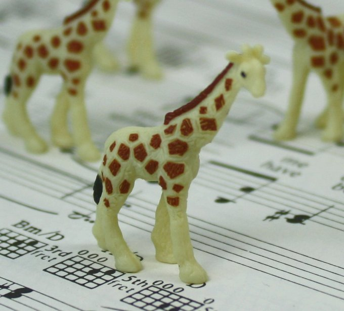 Giraffes Babies - Hand Painted -  Set of 4 - 234-2622