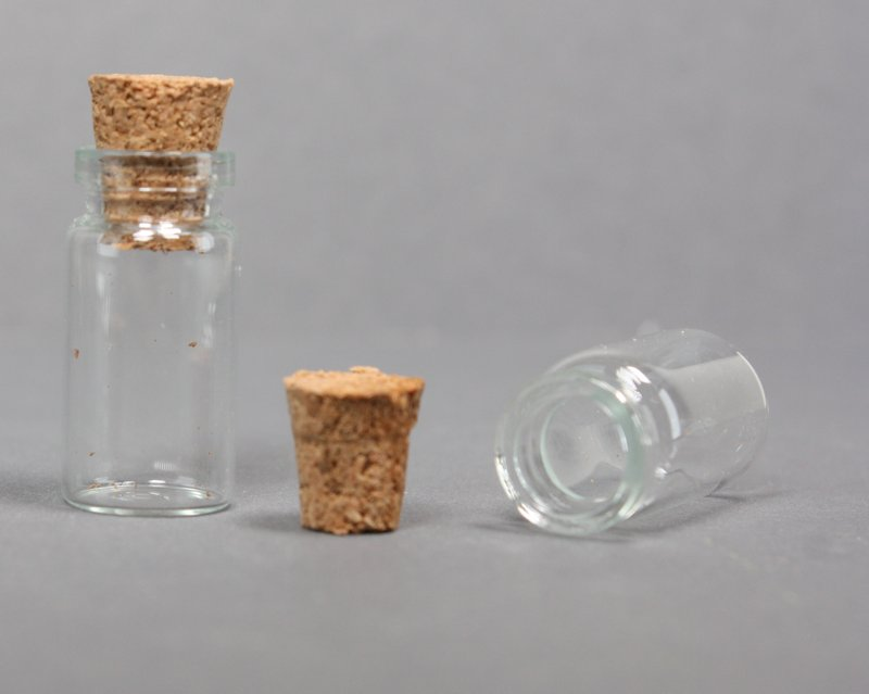 "Corked Glass Vials -  7/8"" Tall Vials - 24 pcs - 310-0811"