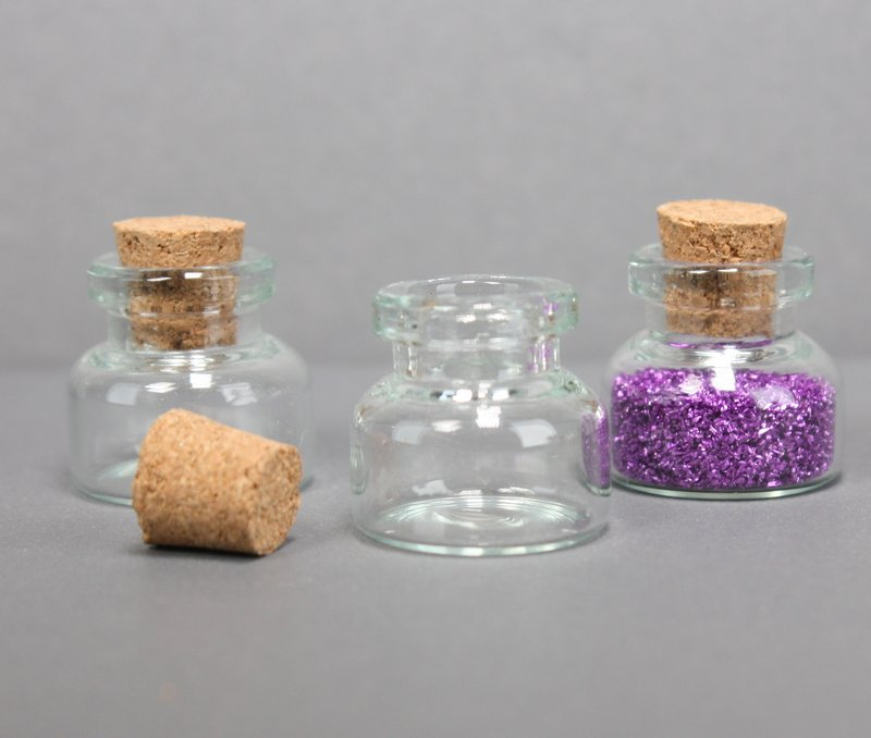 "Corked Glass Vials -  3/4"" Tall Vials - 24 pcs - 310-1029"