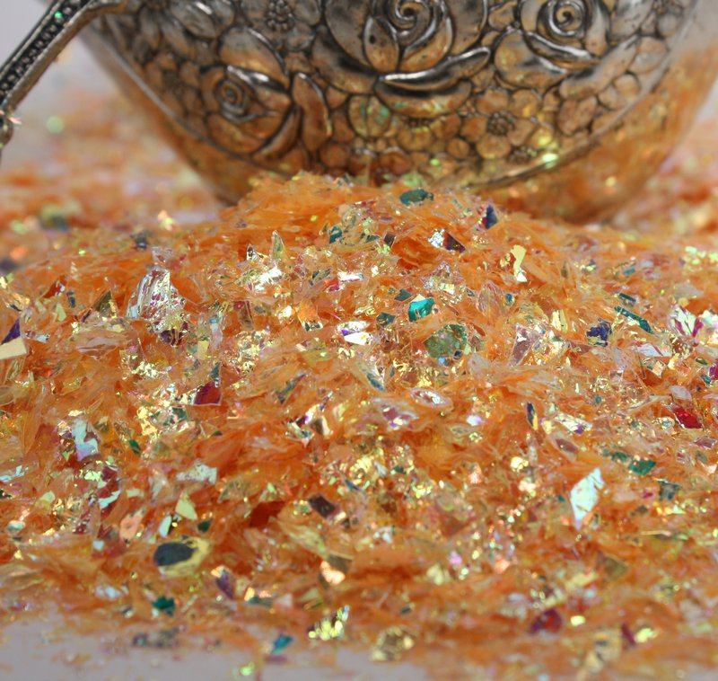 Orange - Golden Orange - Iridescent Ice Flakes - 311-4373
