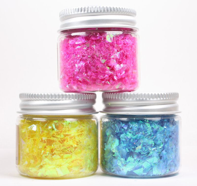 * Blue, Pink, Yellow Iridescent Ice Flakes Set -  311-M-0714