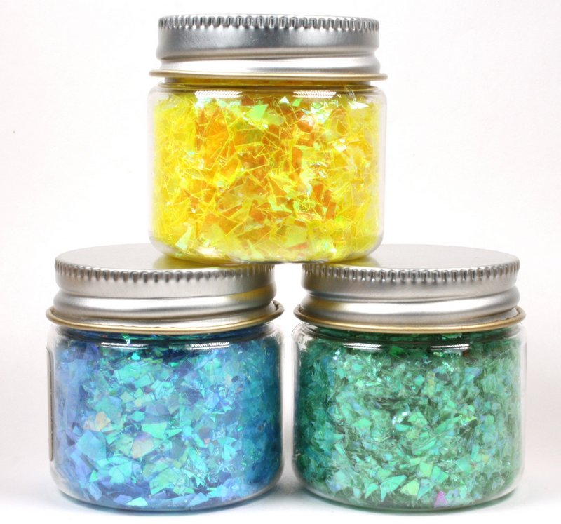 * Blue, Green, Yellow Iridescent Ice Flakes - 311-M-0717