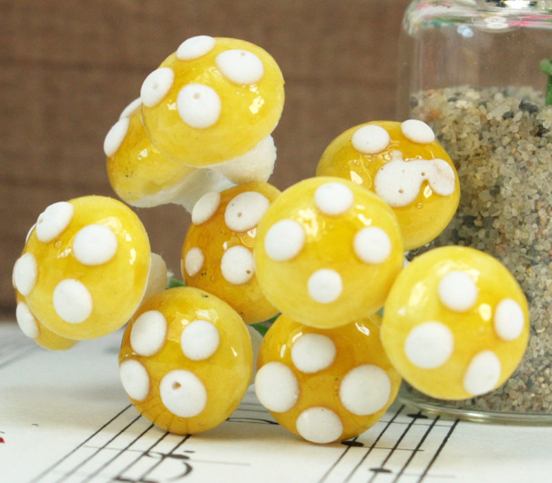 Golden Yellow - Small Cotton Mushrooms -  6-002-1Y