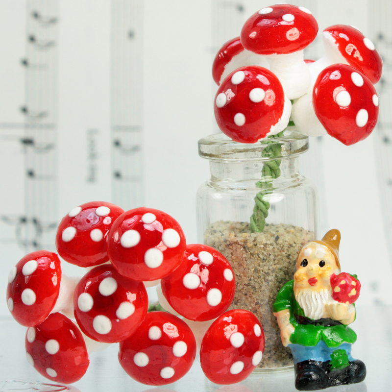 "Red 1/2"" Cotton Spun Mushrooms - Set of 10 - 6-703-1200"